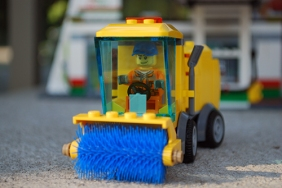Sidewalk sweeper front view