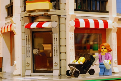 I liked the awning above the Deli window in the original, so it stayed in my modified version.