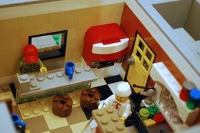 The soda machine inside my LEGO Corner Deli. The door leads to the bathroom.