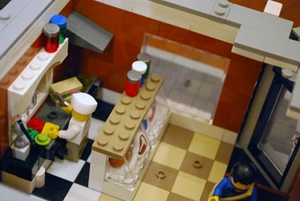 The sandwich preparation area of my LEGO Corner Deli.