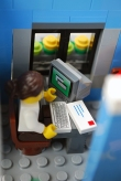 The receptionist in my LEGO eye clinic.