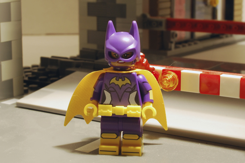 LEGO Batgirl front view with alternate face.