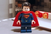 LEGO Superman, front view.