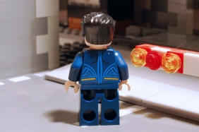 LEGO Superman, rear view.