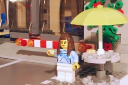 LEGO Pizza Van customer - front view