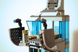 LEGO Avengers Tower balcony guns feature.