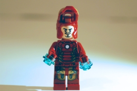 LEGO Iron Man helmet open.