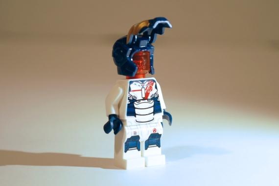 LEGO Iron Legion with mask open.
