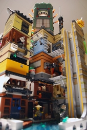 LEGO Ninjago City from behind.