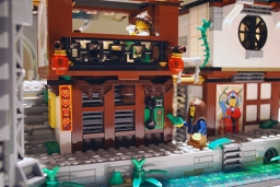 LEGO Ninjago City traditional style buildings.