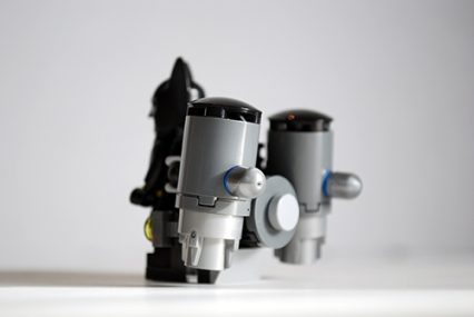 Rear view of Batman's jet pack from the Scuttler.