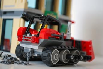 LEGO bulldozer rear view.