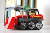 LEGO bulldozer side view.