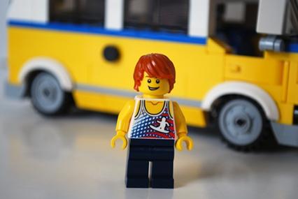 LEGO Sunshine Surfer Van male Minifigure front view.