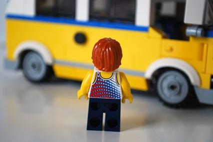 LEGO Sunshine Surfer Van male Minifigure rear view.