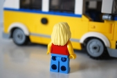 LEGO Sunshine Surfer Van female Minifigure rear view.