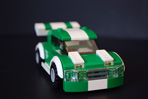 Front view of the LEGO car I made for my LEGO-fied Fast & Furious poster.
