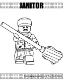 Janitor coloring page
