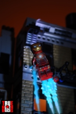 Iron Man blasting into action.