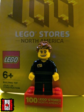 Front view of commemorative LEGO Store Employee Minifigure.